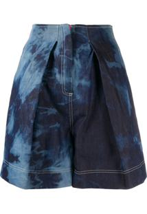Gina Tie Dye Front Pleated Shorts - Azul