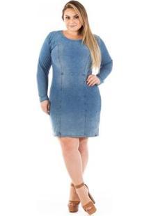 Vestido Jeans Confidencial Tubinho Com Elastano Plus Size - Feminino-Azul