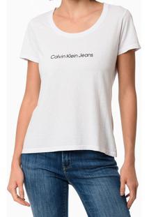 Blusa Feminina Slim Logo Centralizado Branca Calvin Klein Jeans - Pp