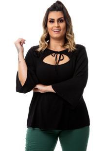 Blusa Feminina Em Viscolycra Com Pelinho Plus Size - Preto - Feminino - Dafiti