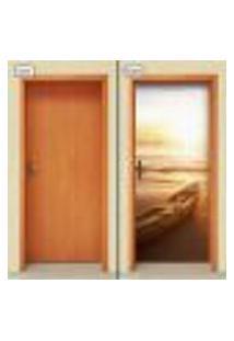 Adesivo Decorativo De Porta - Barco - Praia - 948Cnpt