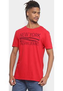 Camiseta Calvin Klein Slim Estampada Masculina - Masculino-Vermelho
