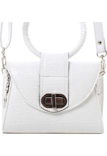 Bolsa Birô Mini Croco Metalizada Feminina - Feminino-Branco