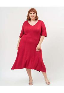 Vestido Almaria Plus Size Garage Midi Liso Roxo