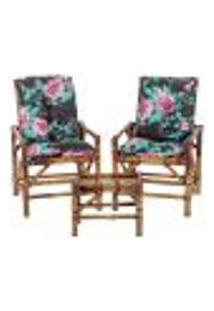 Conjunto Mesa E 2 Cadeiras De Bambu Cancun Para Área Edicula Jardim G18