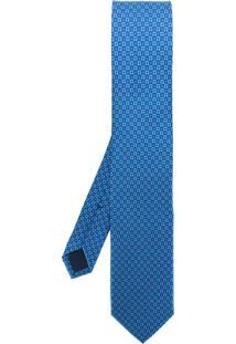 Salvatore Ferragamo Gravata Estampada De Seda - Azul