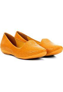 Slipper Couro Bottero Textura Feminino - Feminino-Amarelo