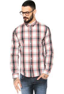 Camisa Ellus 2Nd Floor Xadrez Branca/Vermelho