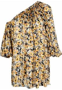 Saint Laurent Vestido Assimétrico Com Estampa Floral - Preto