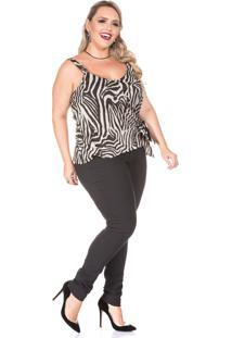 Blusa Domenica Solazzo Alça Zebra Plus Size