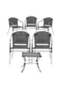Jogo Cadeiras 5Un E Mesa De Centro Floripa Para Edicula Jardim Area Varanda Descanso - Preto