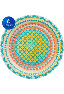 Conjunto De Pratos Fundos 6 Peças Floreal Bilro - Oxford Multicolorido