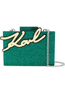 Karl Lagerfeld Glitter Box Clutch - Green