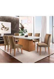 Conjunto De Mesa De Jantar Luna Com 6 Cadeiras Estofadas Lunara I Animalle Off White E Chocolate