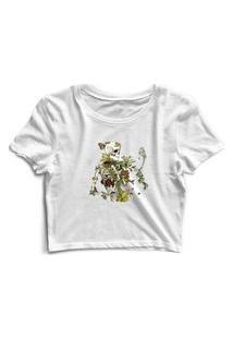Blusa Blusinha Cropped Tshirt Camiseta Feminina Caveira Planta Flores Branco