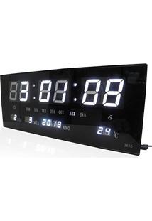 2e5e6c400a3 ... Relogio Parede Led Digital Branco Alarme Termometro Calendario (Rel-57)