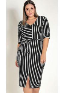 Vestido Listrado Com Fenda Central Plus Size
