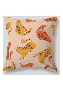 Amaro Feminino Design Up Living Capa De Almofada 42X42 Velluto Felinos Amarelo, Amarelo