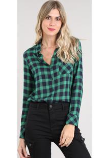 779d15fbce ... Camisa Feminina Estampada Xadrez Com Bolso Manga Longa Verde