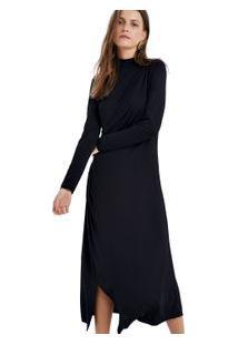 Vestido Mlgola Alta Drape Preto