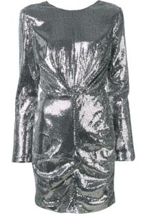 Msgm Vestido Mangas Longas Com Paetês - Prateado