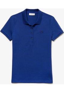 Camisa Polo Lacoste Slim Fit Listrado Com Stretch Feminina - Feminino-Azul Navy
