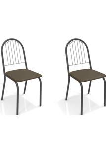 Conjunto Com 2 Cadeiras De Cozinha Noruega Preto E Marrom
