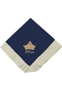 Manta Enxoval Piquet Padroeira Baby Príncipe Luxo Azul Marinho