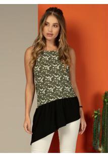 Blusa Florzinha Verde Com Barra Assimétrica