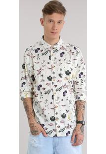 Camisa Estampada Floral Bege Claro