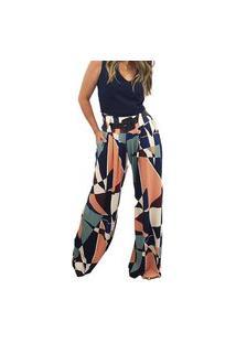 Calça Pantalona Em Viscolycra Mania De Sophia Geométrica Multicolor