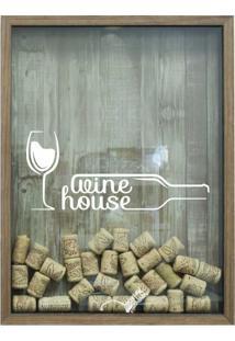 Quadro Porta Rolhas 32X42X4Cm Wine House Natural I