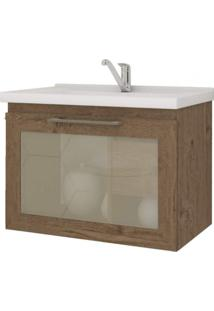 Gabinete De Banheiro 1 Porta Vidro Reflecta Basculante 1 Gaveta 1 Cuba 59Cm Hibisco Mgm Móveis Amêndoa