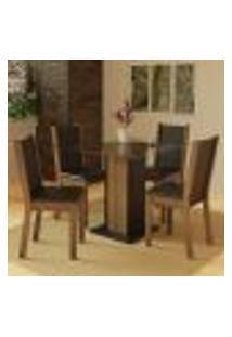Conjunto Sala De Jantar Madesa Aline Mesa Tampo De Vidro Com 4 Cadeiras - Rustic/Preto