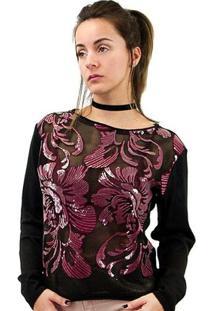 Blusa Morena Rosa Tricot Composê Tecido Rebordado Feminino - Feminino-Preto