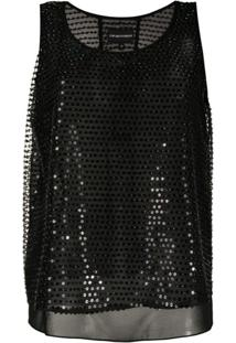 Emporio Armani Blusa Com Bordado De Paetês - Preto