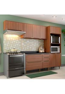 Cozinha Compacta Com Tampo 9 Portas 5457 Nogueira - Multimóveis