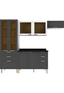 Cozinha Modulada 5 Peças Com Tampo E Nevada 5678Vdtp-Multimóveis - Branco Premium / Grafite Premium