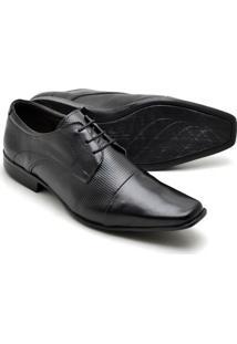 Sapato Social Couro Texturizado Reta Oposta Masculino - Masculino-Preto