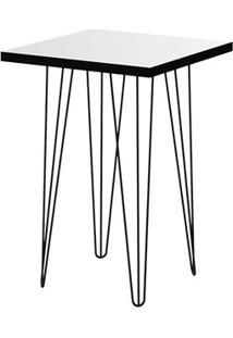 Mesa Lateral Glass Quadrada 62,5 Pé De Ferro Preto - Líder Design