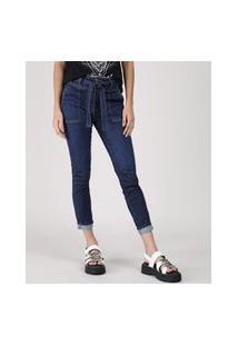 Calça Jeans Feminina Sawary Cropped Cintura Média Com Faixa Para Amarrar Azul Escuro