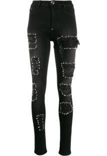 Philipp Plein High Waist Jegging Studded Jeans - Preto