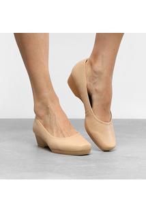 Scarpin Couro Usaflex Salto Baixo Anabela - Feminino-Bege