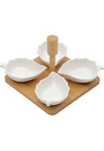 Conjunto De 4 Petisqueiras De Porcelana Com Suporte De Bambu Jackson