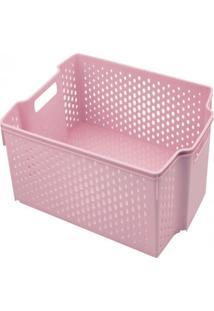 Cesta Empilhável Alta - 11L - 36,5Cmx28Cm - Container Pink