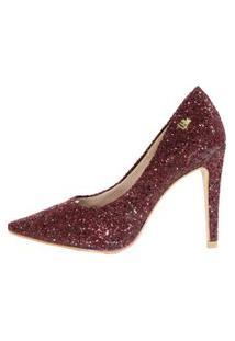 Scarpin Salto Alto Week Shoes Glitter Furtacor Marsala