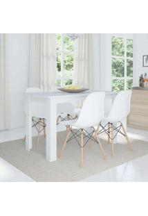 Conjunto De Mesa Cogma Com 4 Cadeiras Eames Base Madeira Branco