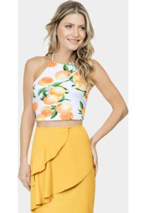 Blusa Cropped Estampada Malha Orange - Lez A Lez
