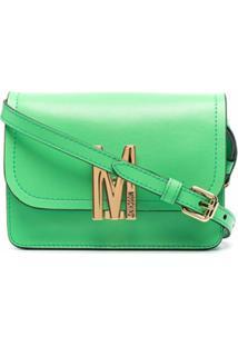 Moschino Bolsa Tiracolo Com Placa Monogramada - Verde