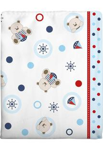 Cobertor Incomfral Ursinho Para Bebê 90Cm X 1.10M Branco/Azul